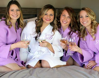 Bridesmaid Robe Set of 13 - FREE Embroidery - Waffle Robe Set - Wedding Robes - Bridal Party Robe - Embroidered - Personalized Bridesmaids