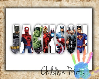 personalised SUPERHERO character name art gift idea printable - Ironman Thor Hulk Captain America Spiderman Superman Batman Flash