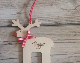 Natural Birch Wooden Christmas Tree decorations Personalised Engraved.