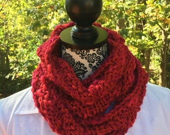 Red Chunky Cowl -  Red Scarf,  Infinity Scarf,  Loop Infinity Scarf, Cowl, Neck Warmer, Shawl