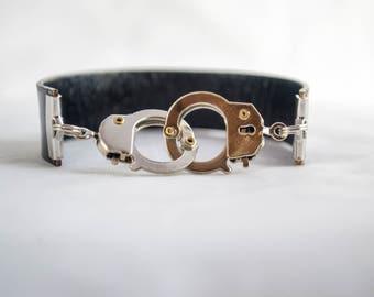 Leather cuff bracelet, Men's bracelet, Woman's Bracelet, Hand cuff bracelet, black and silver, rocker style bracelet,