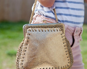 vintage gold lamé bag