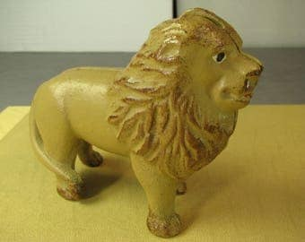Painted Cast Iron Bank Of A Lion