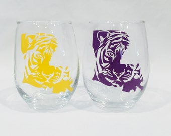 Tiger Louisiana State Wine Glasses