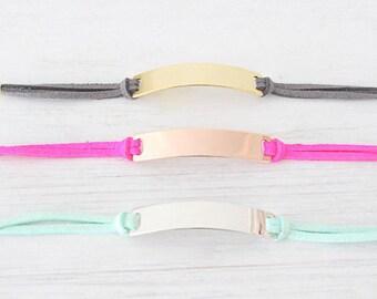 Personalized Bracelet Personalized Medical ID bracelet Velvet leather bracelet. Name Gold Plate Engraved Bracelet Friendship Bracelet