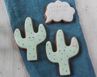 Cactus Biscuit Gift - Valentines Cacti Cookie Set - Gifts for Couples - Anniversary Gifts - Funny Biscuit Gift Set