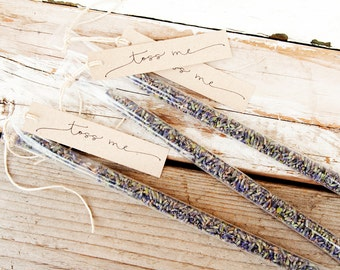 Wedding Exit Toss - Dried Lavender Wands  - Natural Outdoor Send Off - Petal Toss - 25 finished tubes per pack