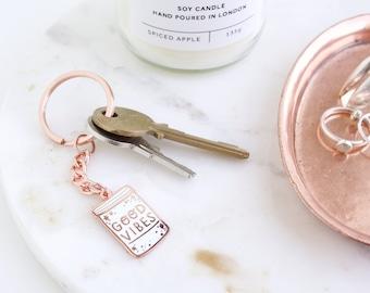 Good Vibes Enamel Keyring // enamel keychain - lapel pin - flair - enamel jewellery - pin badge - key ring - key chain