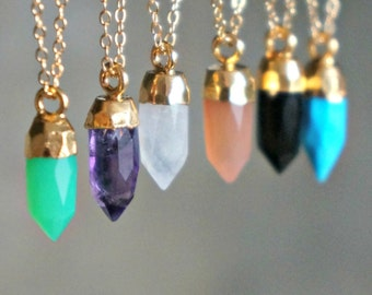 Gemstone Point Necklace // Choose your Gem - Turquoise • Amethyst • Moonstone • Peach Moonstone • Onyx or • Chrysoprase