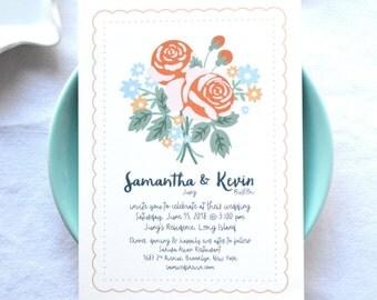 Roses Bouquet Wedding Invitations 50 Invitations