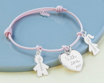 Women's Personalized Bracelet Sterling Silver Family - Merci Maman Jewellery Gift for mother, mommy, mum, mother's day