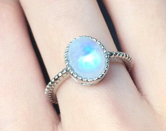 Moonstone Ring Sterling Silver, Natural Rainbow Moonstone, Genuine Blue Moonstone, June Birthstone, Promise Ring Anniversary Gift For Her