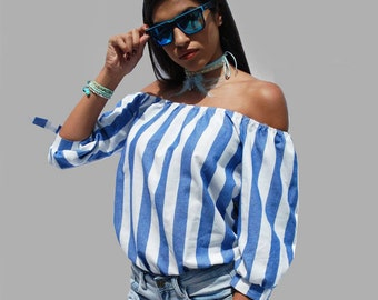 Off Shoulders Top/ Striped Blue and White Top/ Long Sleeve Top/ Bohemian Style/ Hippie/ Loose Top/ Party Top/ V Neck/ Low Cut/ Sexy Blouse