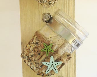 3 Jar Driftwood and Pebble Holder