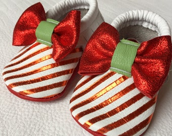 Candy Cane Moccasins