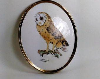 Hand Painted Porcelain Barn Owl Birched On A Branch With Gold Trim/F Kirchner/Goebel W. Germany #59 111-16