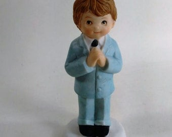 "Young Boy Dressed In Blue Suit/Ceramic/ Ideal For Conformation/Wedding Party/ From The ""Loving Memories"" Collection"