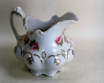 Bone China Victorian Style Creamer/Red Roses And Gold Flowers With Trim No Name On Bottom/ Great Used Condition (S)