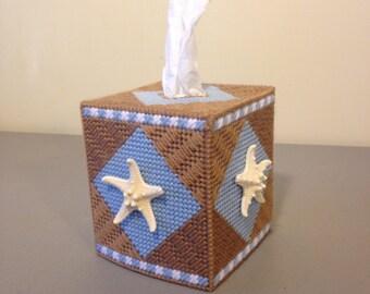 Starfish Tissue Box Cover, Plastic Canvas, Starfish, Ocean, Beach, Summer, Gift,