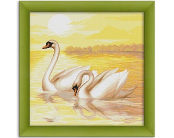 "PDF Cross Stitch Pattern ""Swans""  Instant Download"
