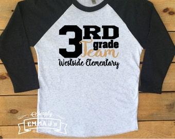 Teacher shirt, teacher, teacher gift, gift ideas, teach, baseball shirt, school shirt, First grade team, second grade team, third grade team