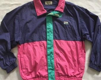 90s COORS Nylon Jacket Multicolor Colorblock Windbreaker Beer