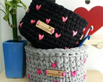 Handmade Crochet Love Heart T-Shirt Yarn Basket