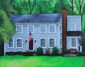 Custom House or Building Acrylic Painting