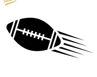 Silhouette Football Flying - Custom Top and Bottom Text - Vinyl Car Decal Sticker