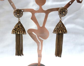 Joseff of Hollywood gold tone TASSEL dangle drop clip EARRINGS 2.75""