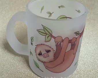 Sloth cup, mug, glass, branch, leaves, hanging, sloth love, sloth life, lazy, two toed sloth, 10oz.