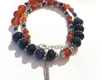 Carnelian and Sodalite Asymetrical Necklace