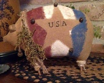 Primitive Handmade Patriotic Pig