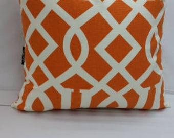 "Decorative throw pillow, richloom kirkwood, trells,  16"" square, orange, ivory RTS"