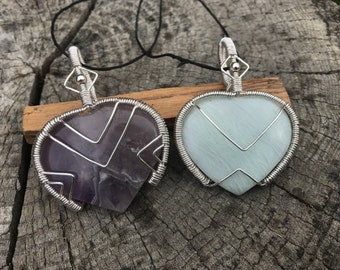 Crystal Hearts: Amethyst or Amazonite -