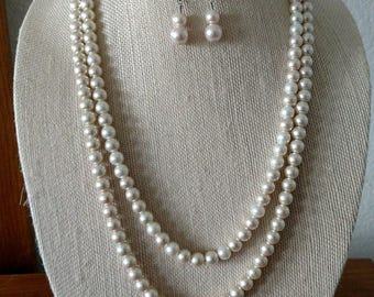 Double Strand Acrylic Pearl Necklace