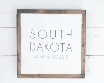 South Dakota Cordinates, State Love, Rustic Home Decor, Graduation Gift, Moving Away Gift