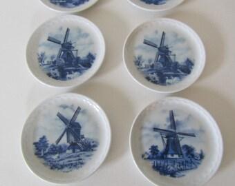 Delft Six Piece Steege Porcelain Coaster Set