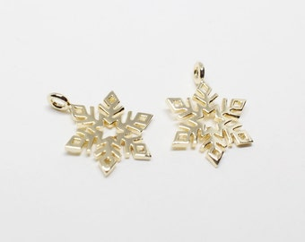 P0539/Anti-Tarnished Gold Plating Over Brass/SnowFlake Pendant/11x15mm/2pcs