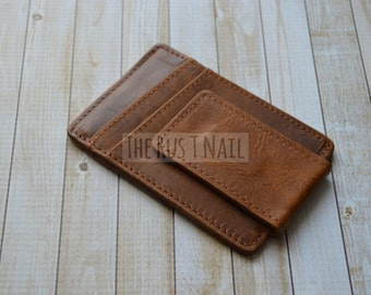 Distressed Genuine Leather Credit Card Case with Money Clip - Brown - Leather Money Clip - Leather Credit Card Wallet