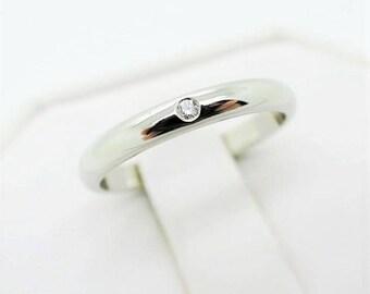 Size 52 ~ CARTIER WEDDING RING ~ 2.5mm, Platinum with Diamond