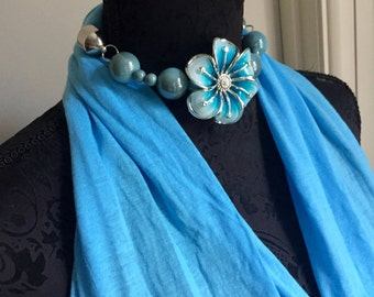 Necklace scarf scarves shawl Blue Turquoise beads beaded flower Pendant necklace scarf