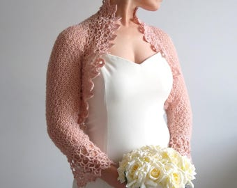 Crochet bridal bolero, rose bolero, bridal jacket, wedding cardigan, dusty pink bolero, short jacket, lace shrug, 3/4 sleeves, fast shipping