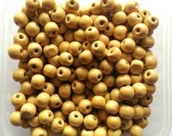 100pcs Round Wooden Beads (Natural color) 8.5mm x 9.5mm