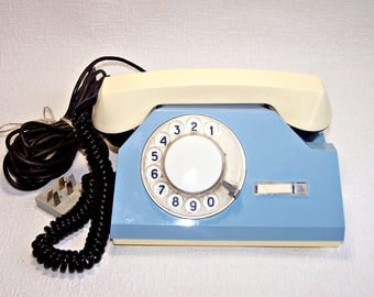 Vintage Rotary Phone. Working Soviet Telephone. Retro Blue and White Phone. Old Desk Telephone. Home Decor.