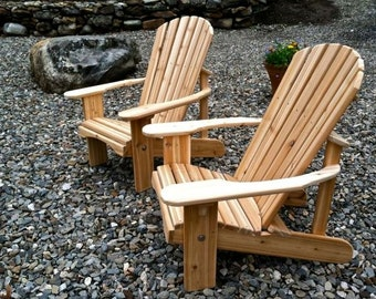 Two Classic Adirondack Cedar Chairs