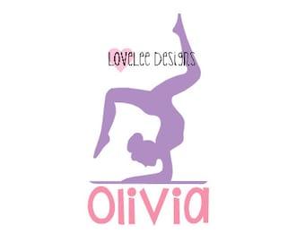 Gymnastics Vinyl Decal  - Gymnast - Personalized - Custom Name - Car Decal - Yeti Decal - Sticker
