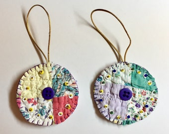 Set of 2 Repurposed Family Quilt handmade folk art ornaments with buttons, beads, & sequins - for Christmas or any day