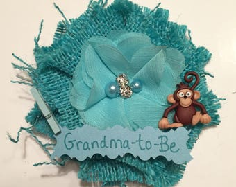 Baby Shower Corsage/ Teal Monkey Grandma-to-Be Shower Corsage/ Teal Grandma-to-Be Corsage/ Zoo Baby Shower Corsage/ Monkey Grandma to Be Pin
