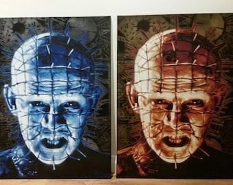 Hellraiser Pinhead spray paint on canvas hand cut stencils horror films movies street art